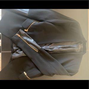 Zara Black Blazer with Leather Details Size M